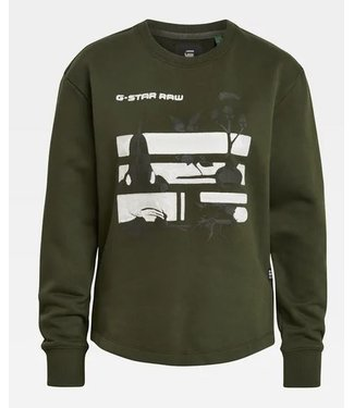 G-Star Graphic thistle sweater groen D18558-A612-4748