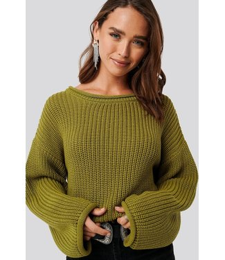 NA-KD Cropped boat neck knitted sweater groen 1100-001832