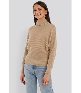 NA-KD Folded knitted sweater beige 1100-000337