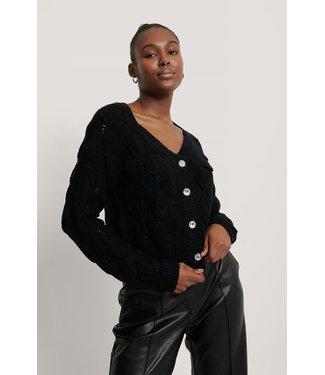 NA-KD Glitter button cardigan zwart 1018-005394