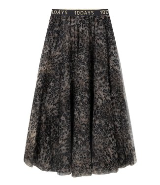 10Days Tulle skirt leopard off white 20-105-0203