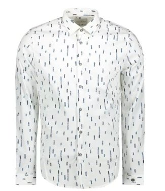 Cast Iron Long Sleeve Shirt Print Poplin Bright White CSI208202