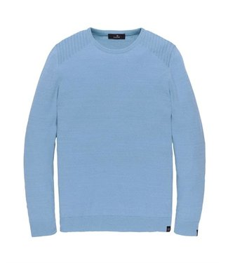 Vanguard Crewneck cotton 2 tone mouline Placid Blue VKW208351