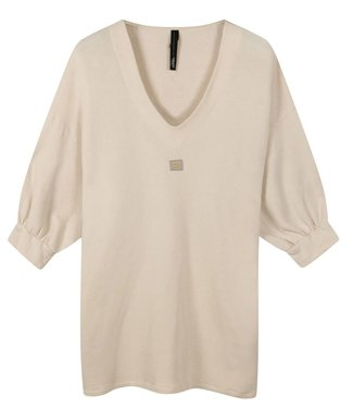 10Days V-neck tunic fleece zand 20-346-0203