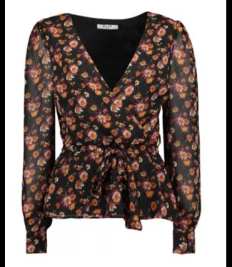 NA-KD Front wrap chiffon blouse zwart 1018-004620