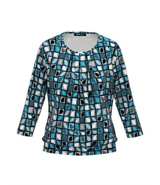 Frank Walder Shirt 3/4 Ärmel blue/green Print W02621438