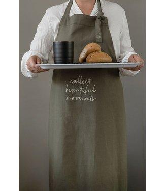 """wonen Zusss keukenschort """"Collect beautiful moments"""" donkergroen"""