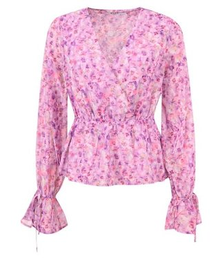 NA-KD Strap tie blouse paars 1018-006381