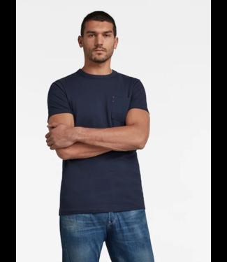 G-Star Contrast mercerized pkt t-shirt donkerblauw D19203-B255