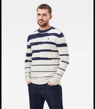 G-Star Broken stripe r knit blauw D19318-C706-C350