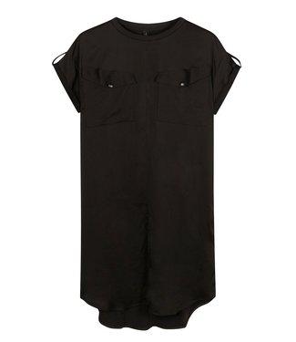 10Days Dress shiny zwart 20-304-1201