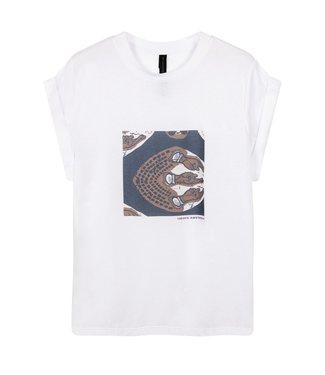 10Days T-shirt ethnic print wit 20-741-1201