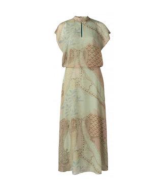 Yaya Printed high neck dress faded artichoke dessin 1801327-113