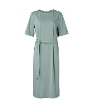 Yaya Jersey dress with belt concrete blue 1809322-113