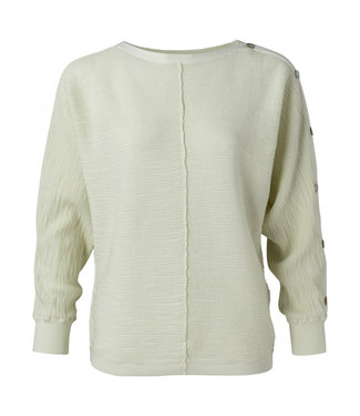 Yaya Textured sweater with buttons pale green 1000421-113