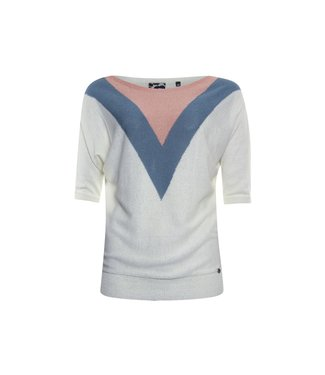Poools Sweater contrast off white 113225