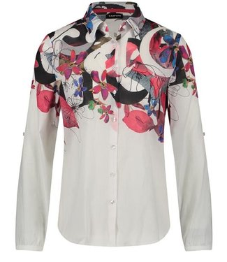 Taifun BLOUSE LONG-SLEEVE OFFWHITE PATTERNED 760023-11037