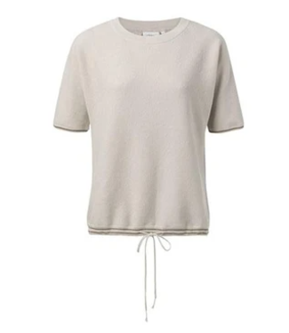 Yaya Sweater with lurex rib cuffs BLANC DE BLANC 1000286-014