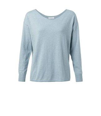 Yaya Cotton cashmere blend sweater MISTY BLUE 1000289-014