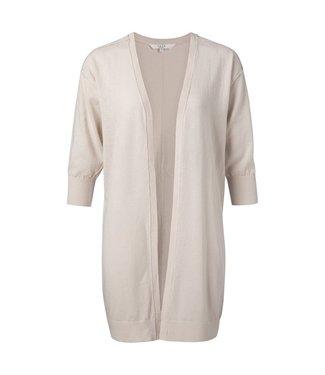 Yaya Linen blend loose fit cardigan DARK SAND 101082-014