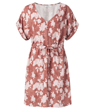 Yaya Belted dress with floral print ROUGE 1801222-014