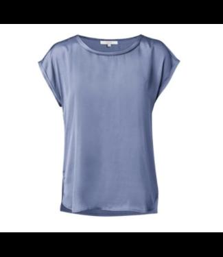 Yaya Fabric mix top WASHED INDIGO BLUE 1901276-014