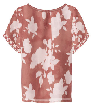 Yaya Satin top with floral print ROUGE 1901323-014