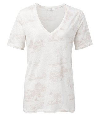 Yaya Linen T-shirt with story print SOFT PINK DESSIN 1909286-014