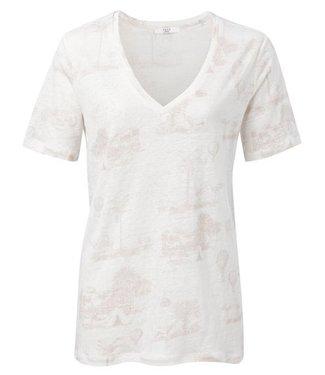 Yaya Linen T-shirt with story print SOFT PINK DESSIN 1909286-014
