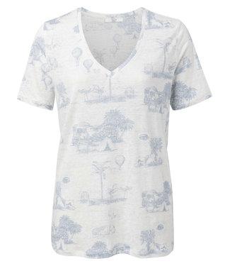Yaya Linen T-shirt with story print LIGHT BLUE DESSIN 1909286-014