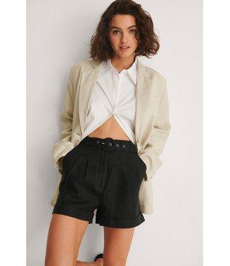 NA-KD Highwaist belted linen shorts zwart 1018-006859