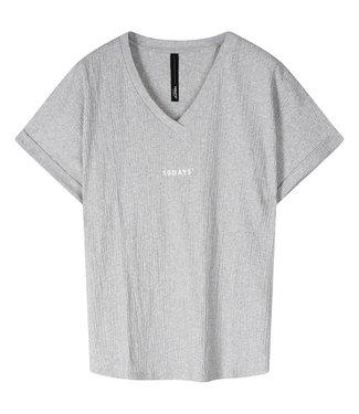 10Days V-neck tee crinkle jersey grijs 20-749-1201