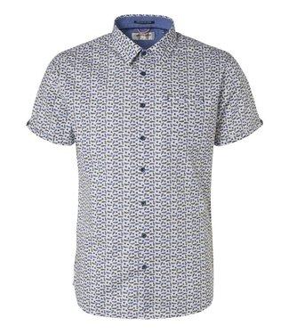 No Excess Shirt, s/sl, ao leaves print, stret Indigo Blue 96440501