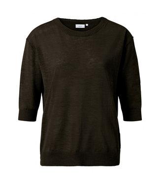 Yaya Cotton linen blend sweater Turkish Coffee 1000258-115