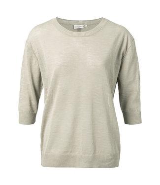 Yaya Cotton linen blend sweater Bleached Sand 1000258-115