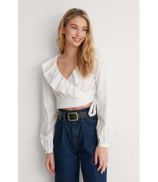 NA-KD Cotton frill blouse wit 1660-000616