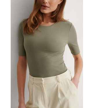 NA-KD Recycled round neck top groen 1044-000144