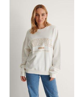 NA-KD Mindfull printed sweater off white 1100-004258