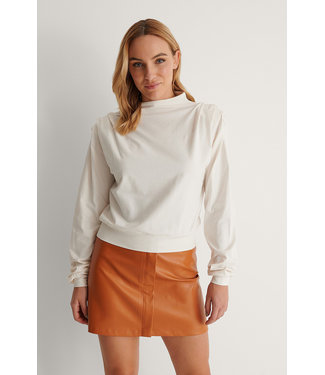 NA-KD Pleated detail sweater off white 1100-004248