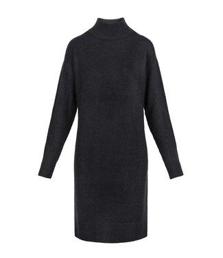 Zusss Gebreide jurk met col zwart Gebreide jurk