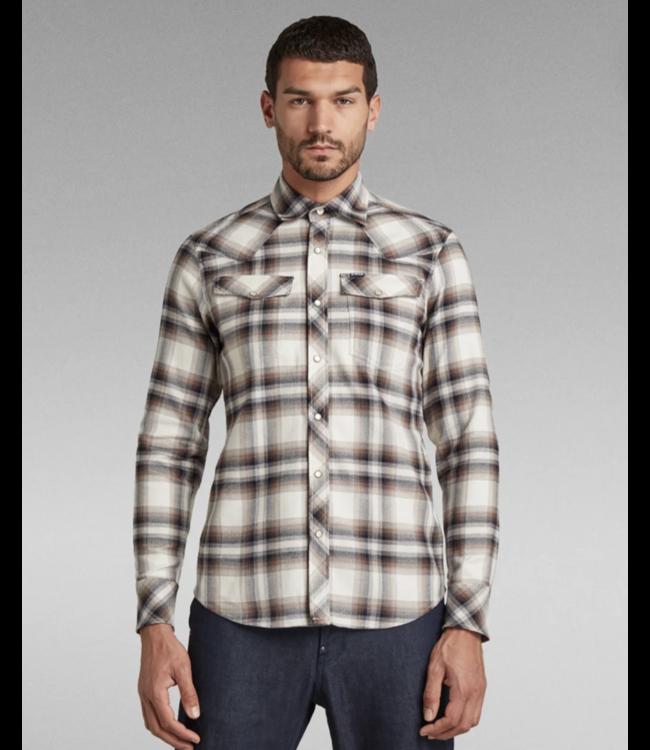 G-Star 3301 slim shirt l/s wit D18952-C841-C639