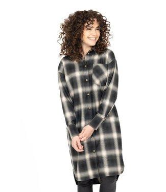 Zusss Overhemd jurk ruit zwart Overhemd jurk ruit