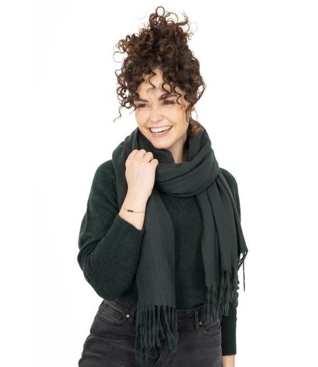 Zusss Basic sjaal met franjes groen Basic sjaal franjes