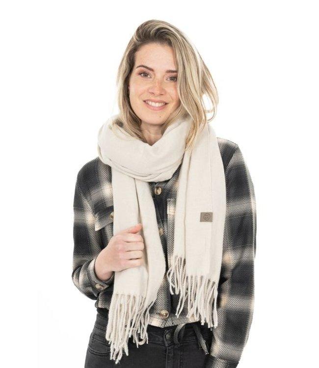 Zusss Basic sjaal met franjes off white Basic sjaal franjes