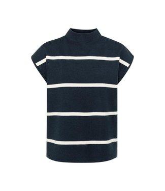 Yaya Striped top cap sleeve Carbon Dark Blue Dessin 1000467-122