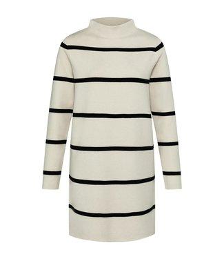 Yaya Knitted dress with stripes French Oak Dessin 1800371-122