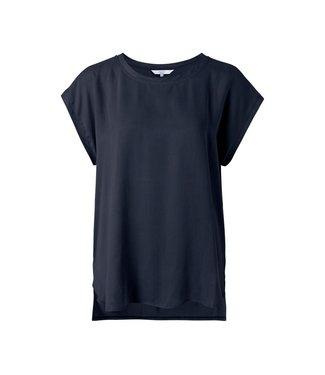 Yaya Fabric mix top Carbon Dark Blue  1901116-122