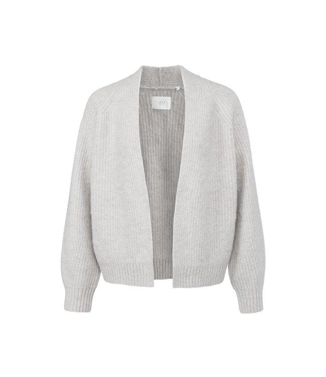 Yaya Open short cosy cardigan Wool White Melange 1010131-123