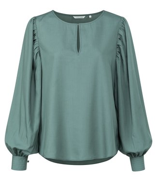 Yaya Drapy top with volume sleeve Dark Forest Green 1901481-123