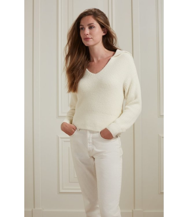 Yaya Wide collar sweater Wool White 1000481-123